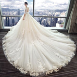 Gorgeous Wedding Dress 2018 V-neck Lace Applique Flowers Tulle Half Sleeve Bridal Gown AM884
