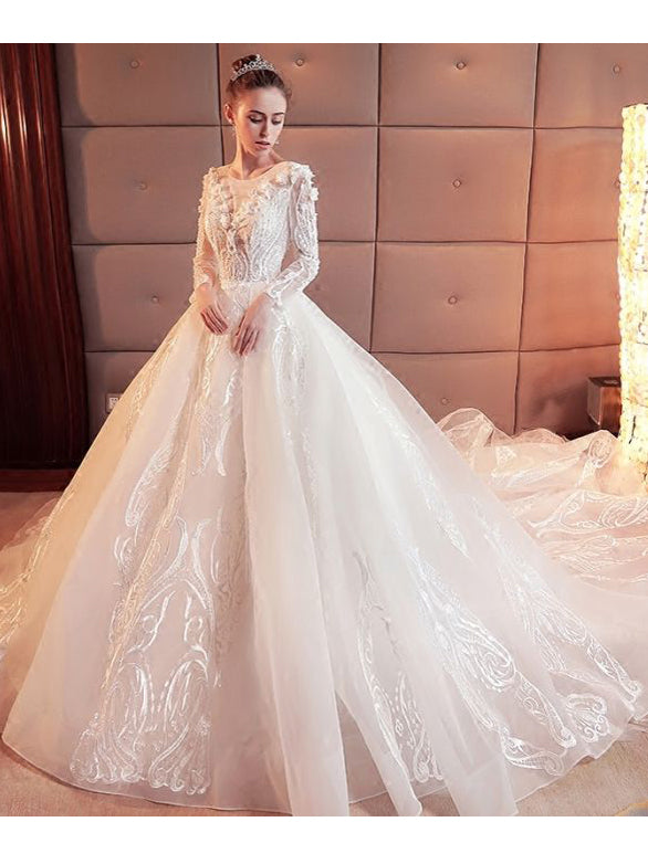 62e905bdbb2 Gorgeous Wedding Dress 2018 Scoop Lace Applique Flowers Organza Long Sleeve  Bridal Gown AM886