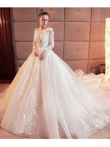 Gorgeous Wedding Dress 2018 Scoop Lace Applique Flowers Organza Long Sleeve Bridal Gown AM886