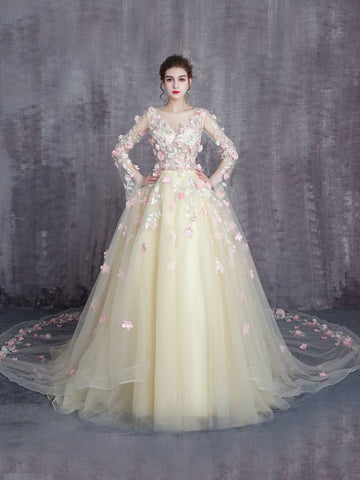 Chic A-line Scoop Tulle Modest Applqiue Evening Dress Wedding Dress AM887