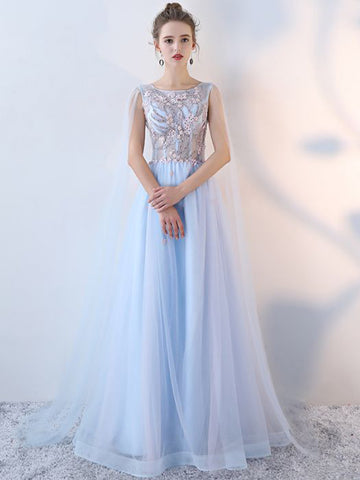 Chic A-line Scoop Tulle Blue Modest Applqiue Long Prom Dress Evening Dress AM888