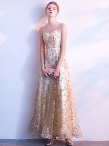Chic Long Prom Dress A-line V-neck Tulle Champagne Prom Dress Evening Dress AM889