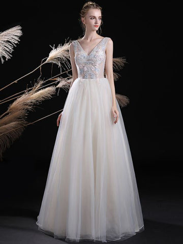 Chic A-line Prom Dress V-neck Organza Applique Long Prom Dress Evening Dress AM890