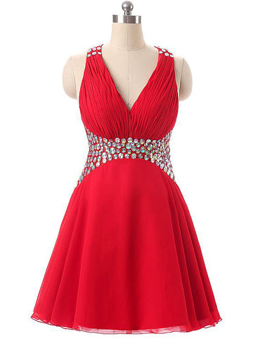 Chic A-line V-neck Red Short Mini Beading Short Prom Dress Homecoming Dress AM892