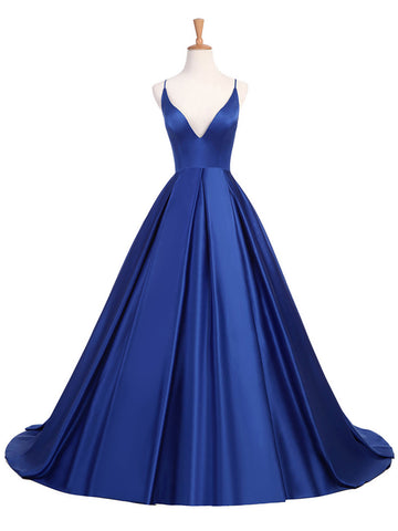 Chic Royal Blue Prom Dress A-line V-neck Satin Long Prom Dress Evening Dress AM895
