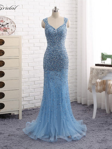 Chic Mermaid Prom Dress Blue Straps Tulle Long Prom Dress Evening Dress AM896
