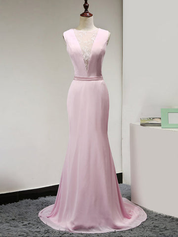 Chic Pink Prom Dress Mermaid Scoop Chiffon Long Prom Dress Evening Dress AM897