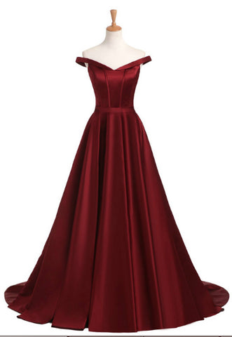 Chic Burgundy Prom Dress Off-the-shoulder Satin Simple Long Prom Dress Evening Dress AM898