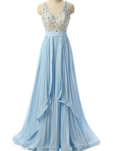 Chic Light Blue Prom Dress A-line Chiffon Beading Long Prom Dress Party Dress AM899