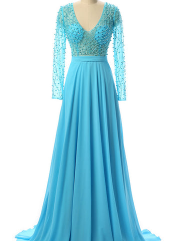 Chic Prom Dresses Long A line Chiffon V neck Blue Cheap Beaded Prom Dress AM900