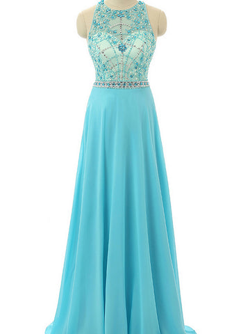 Chic Blue Prom Dress A-line Chiffon Scoop Beading Long Prom Dress Party Dress AM907