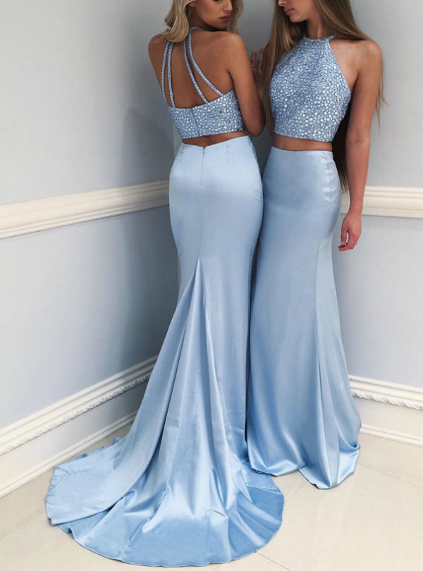Chic 2 Pieces Trumpet/Mermaid Spaghetti Straps Blue Beading Prom Dress Evening Dress AM911