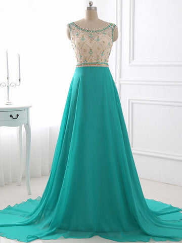 Chic Beading Prom Dress A-line Scoop Chiffon Pretty Long Prom Dress Party Dress AM917