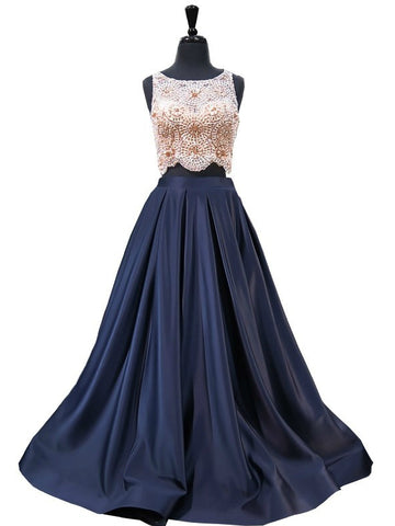 Chic A-line Scoop Dark Navy Satin Beading Prom Dress Evening Dress AM918