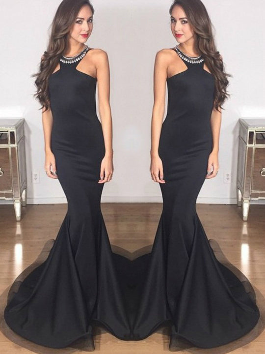 Chic Mermaid Prom Dresses Long Scoop Modest Black Backless Cheap Long Prom Dress AM921