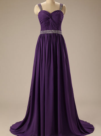 Chic Grape Prom Dress A line Chiffon Straps Beading Long Prom Dress Party Dress AM922