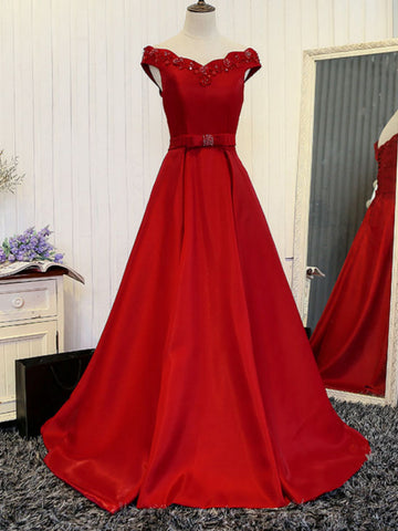 Chic A-line Off-the-shoulder Red Satin Cheap Prom Dress Evening Dress AM925