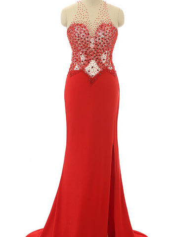 Chic Sheath/Column Scoop Red Chiffon Beading Prom Dress Evening Dress AM926