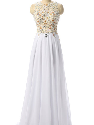 Chic White Prom Dress A-line Scoop Chiffon Beading Long Prom Dress Party Dress AM927