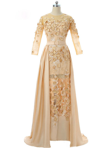 Chic Gold Prom Dress A-line Chiffon Applique Lace Long Prom Dress Evening Dress AM928