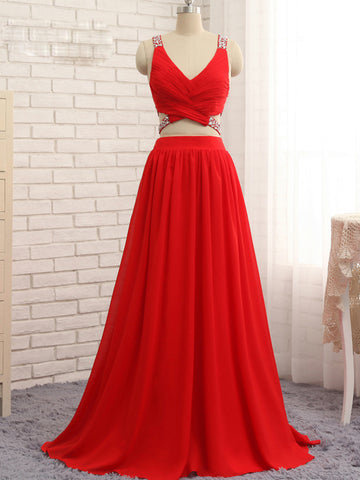 Chic 2 Pieces A-line V-neck Red Beading Chicffon Long Prom Dress Evening Dress AM931