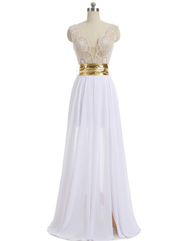 Chic A-line Straps White Beading Chicffon Long Prom Dress Evening Dress AM933