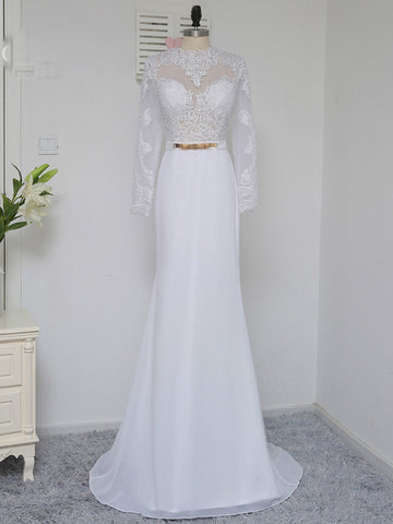 Chic White Prom Dress Sheath High Neck Chiffon Long Sleeve Prom Dress Evening Dress AM934
