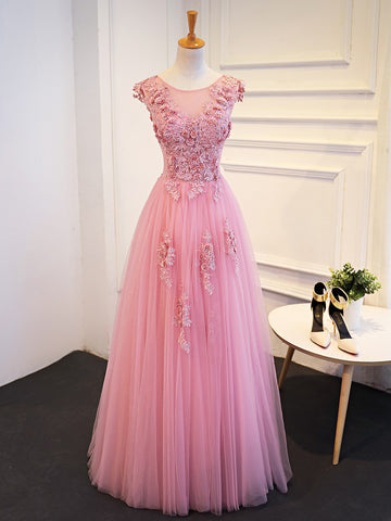 Chic A-line Scoop Pink Tulle Applique Modest Long Prom Dress Evening Dress AM935