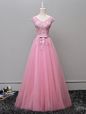 Chic Pink Prom Dress A-line Tulle V-neck Applique Long Prom Dress Party Dress AM937