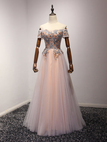 Chic A-line Prom Dress Off-the-shoulder Tulle Beading Long Prom Dress Evening Dress AM938
