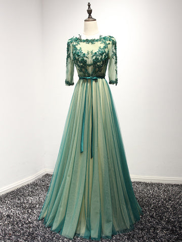 Chic Green Prom Dress A-line Bateau Tulle Half Sleeve Long Prom Dress Formal Dress AM939