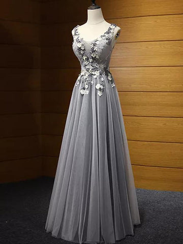 Chic A-line Prom Dress V-neck Tulle Applique Silver Long Prom Dress Evening Dress AM940