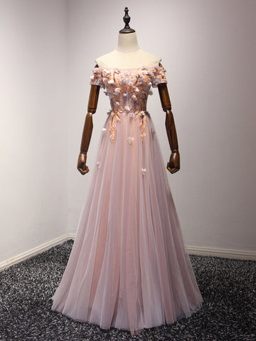 Chic Pink Prom Dress A-line Applique Off-the-shoulder Tulle Prom Dress Evening Dress AM942