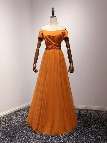 Chic A-line Prom Dress Off-the-shoulder Tulle Orange Long Prom Dress Evening Dress AM943