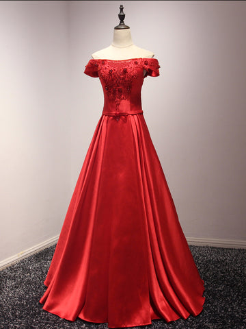 Chic Red Prom Dress A-line Satin Off-the-shoulder Long Prom Dress Evening Dress AM944