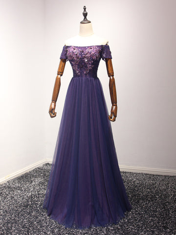 Chic Grape Prom Dress A-line Tulle Off-the-shoulder Long Prom Dress Evening Dress AM945