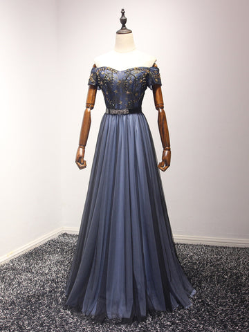Chic Blue Prom Dress A-line Beading Off-the-shoulder Tulle Prom Dress Evening Dress AM946