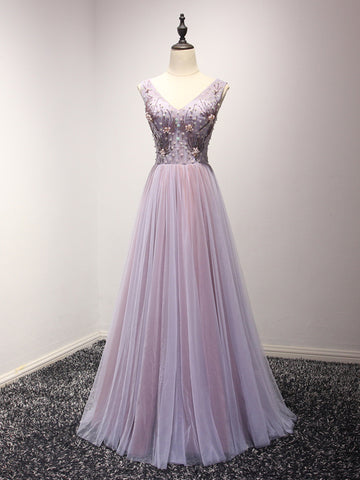 Chic Lilac Prom Dress A-line V-neck Beading Tulle Prom Dress Evening Dress AM947