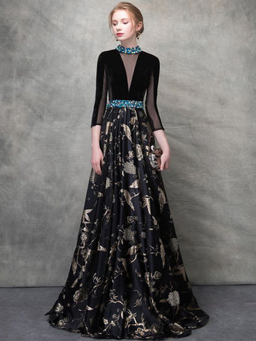 Chic Black Prom Dress A-line High Neck 3/4 Sleeve Print Prom Dress Evening Dress AM948