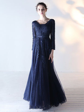 Chic Dark Navy Prom Dress A-line V Neck long Sleeve Applique Prom Dress Evening Dress AM949