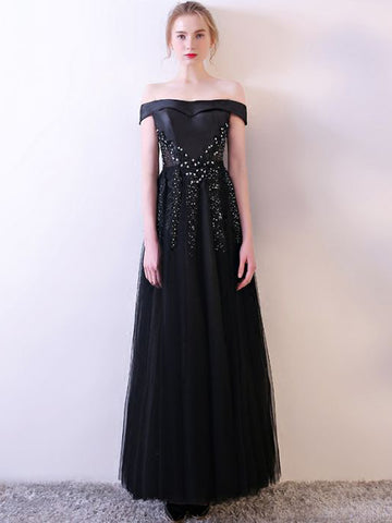 Chic Black Prom Dress A-line Off-the-shoulder Beading Prom Dress Evening Dress AM950