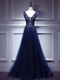 Chic Dark Blue Prom Dress A-line V Neck Applique Prom Dress Evening Dress AM953