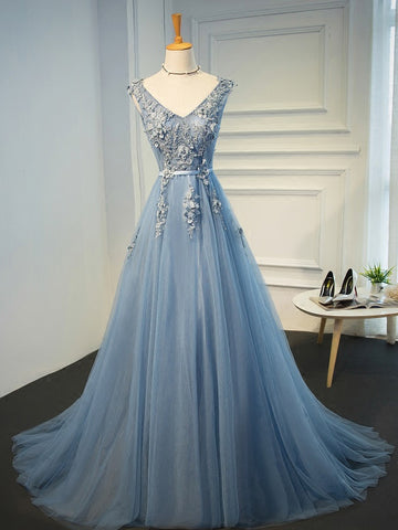 Chic Blue Prom Dress A-line V-neck Tulle Long Prom Dress Formal Dress AM953