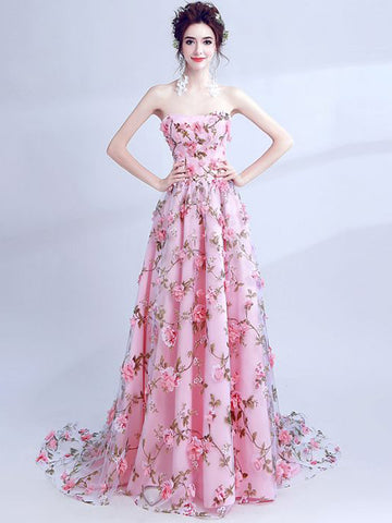 Chic Pink Prom Dress A-line Strapless Applique Long Prom Dress Evening Dress AM954