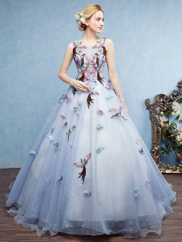 Chic Ball Gown Prom Dress Scoop Floor Length Applique Prom Dress Evening Dress AM956