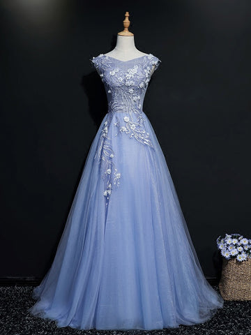 Chic Blue Prom Dress A-line V-neck Long Prom Dress Evening Dress AM956
