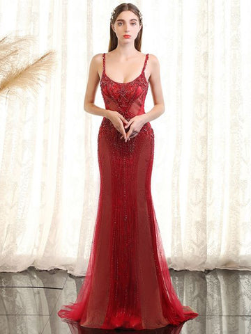 Chic Red Prom Dress Spaghetti Straps Tulle Beading Long Prom Dress Party Dress AM957