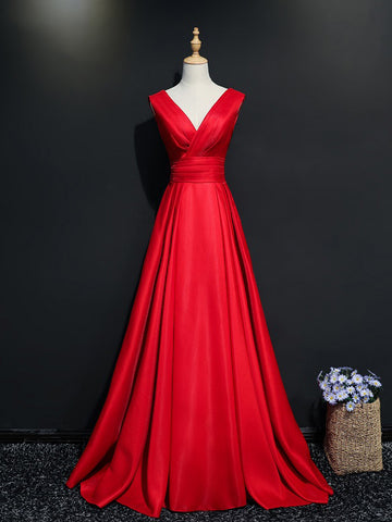 Chic Simple Prom Dress A-line V-neck Red Prom Dress Long Evening Dress AM957