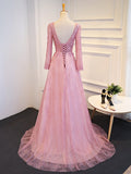 Chic Modest Prom Dress A-line V-neck Long Sleeve Prom Dress Long Evening Dress AM958