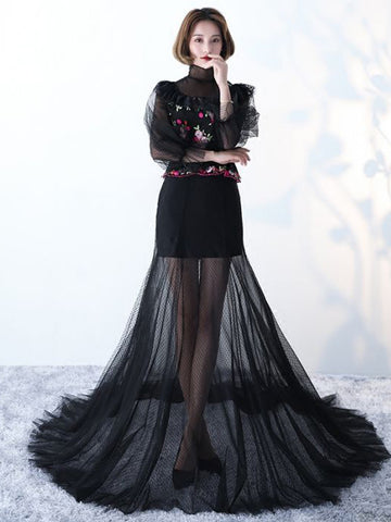Chic High Neck Prom Dress A-line Black Long Sleeve Tulle Long Prom Dress Party Dress AM959
